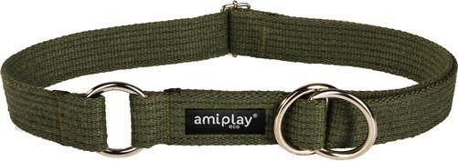 AmiPlay Obroża półzaciskowa Cotton XXL 45-85 bx3cm Khaki