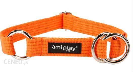 AmiPlay Obroża półzaciskowa Cotton XXL 45-85 bx3cm Pomarańczowy