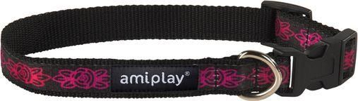 AmiPlay Obroża regulowana Joy S 20-35 b x 1cm Amarantowe kwiaty