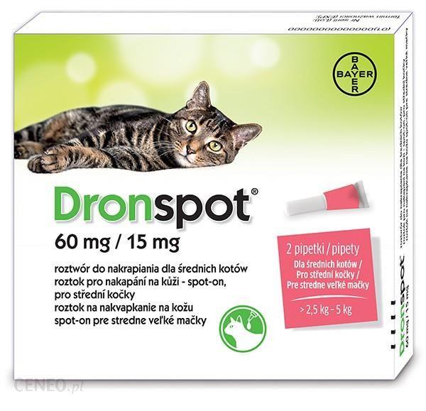 Bayer Dronspot preparat na odrobaczanie dla średnich kotów 60mg/15mg