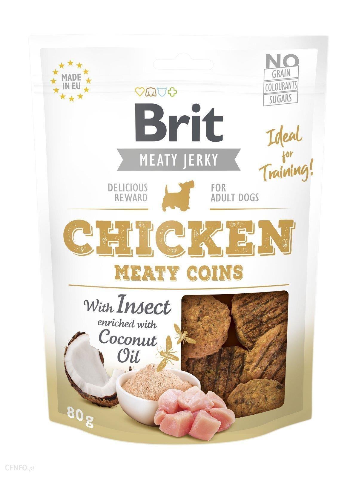 Brit Jerky Snack Chicken Meaty Coins with Insect Kurczak Z Owadami 200G