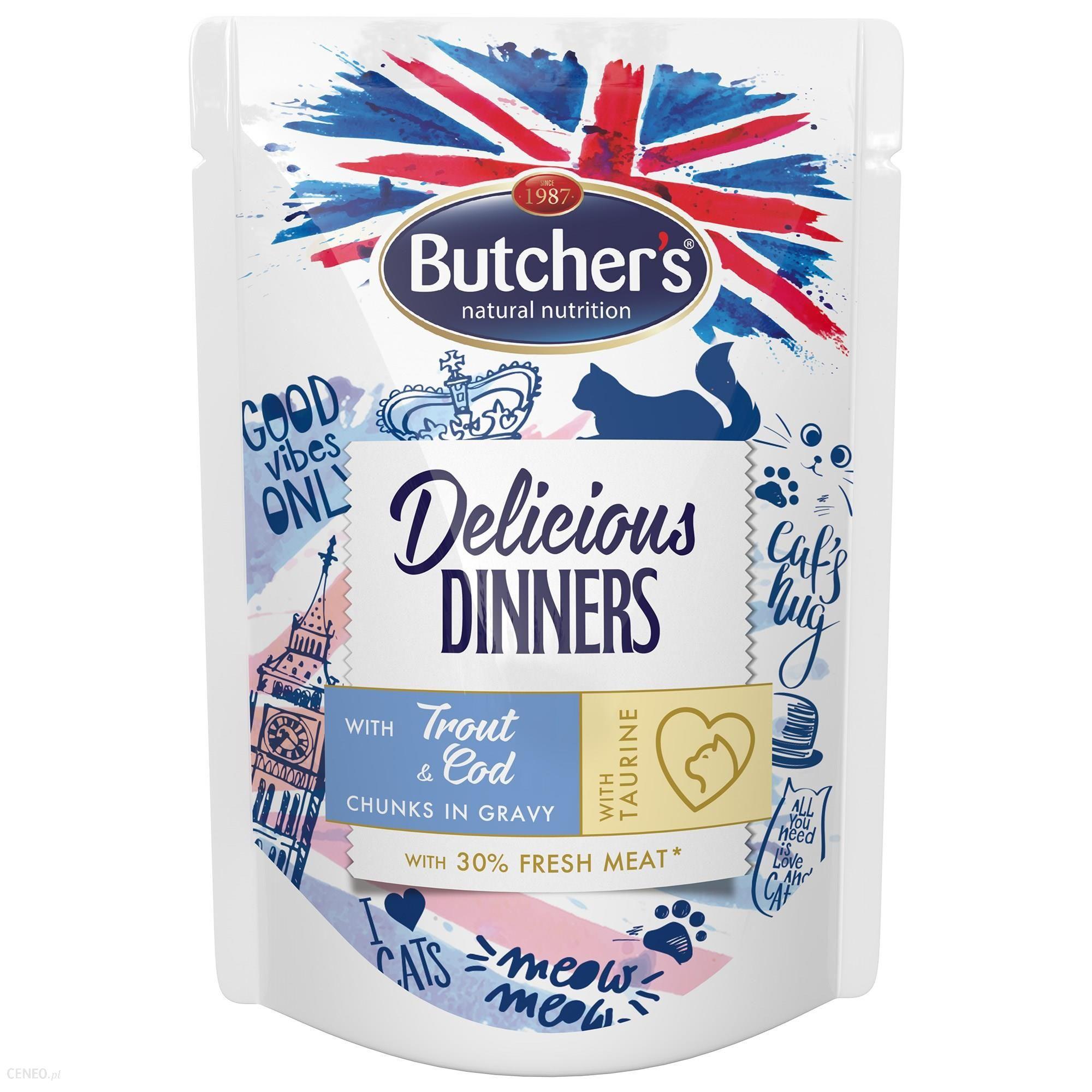 Butcher's Delicious Dinners Cat z pstrągiem i dorszem kawałki w sosie 6x100g
