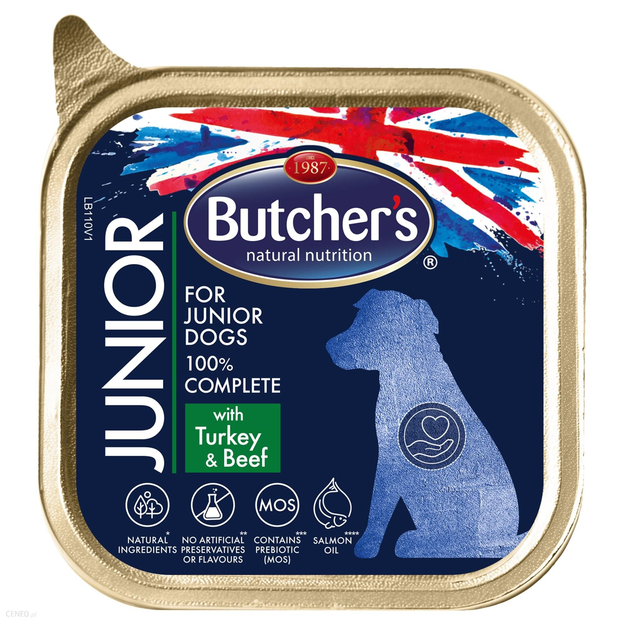 Butcher's Functional Dog Junior z indykiem i wołowiną pasztet 150g