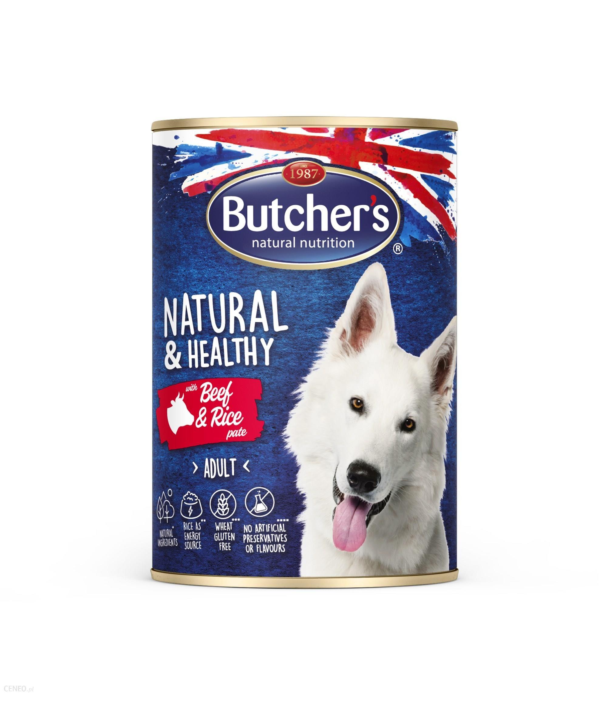 Butcher's Natural&Healthy Dog z wołowiną i ryżem pasztet 390g