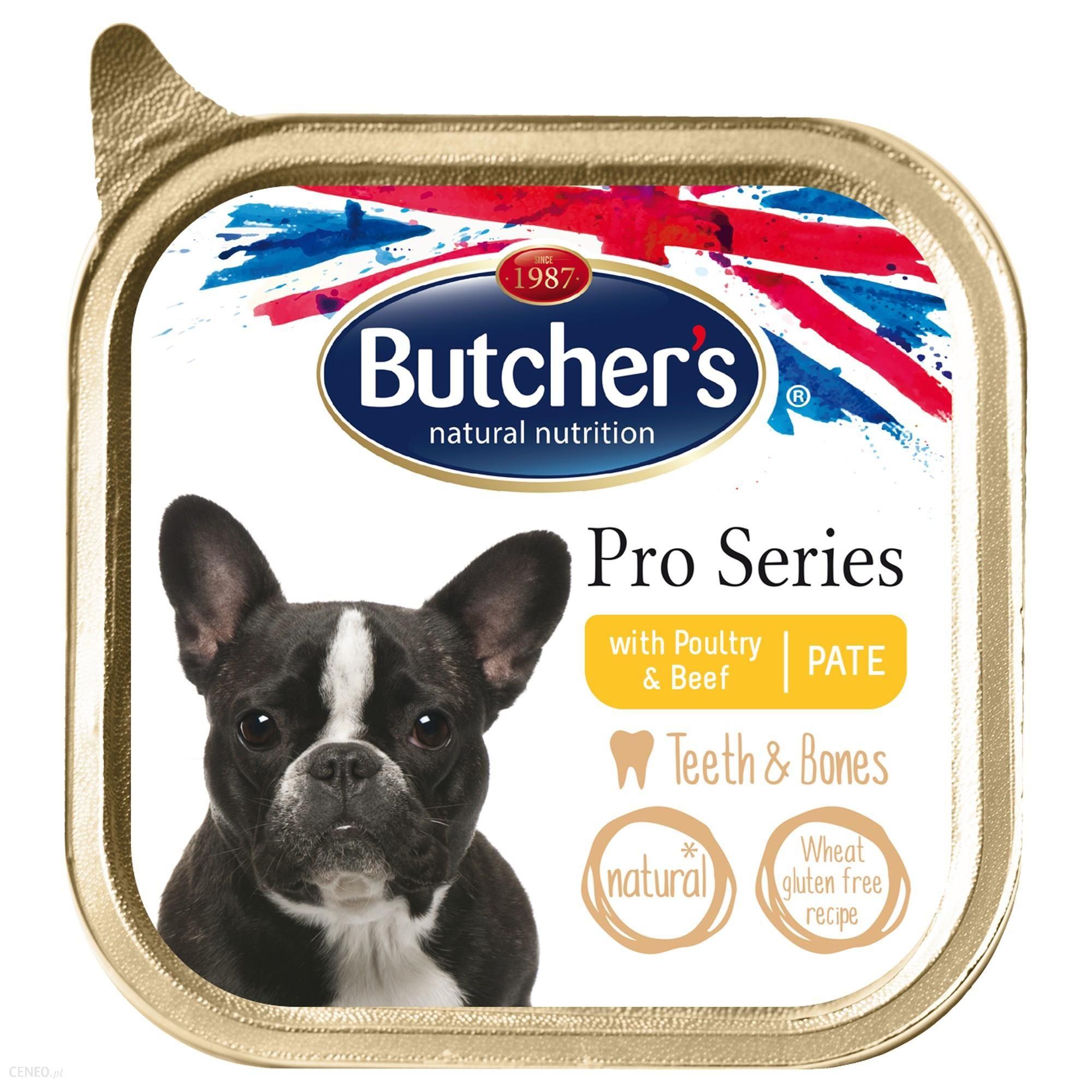 Butcher's ProSeries Dog Teeth&Bones z drobiem i wołowiną pasztet 4x150g