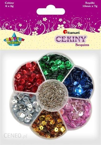 Cekiny metaliczne 6 kolorów i szpilki Craft-fun