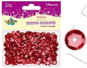 Cekiny okrągłe czerwone 7mm 14g