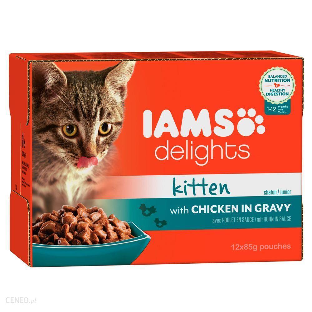IAMS Delights Kitten & Junior z kurczakiem w sosie 12x85 g