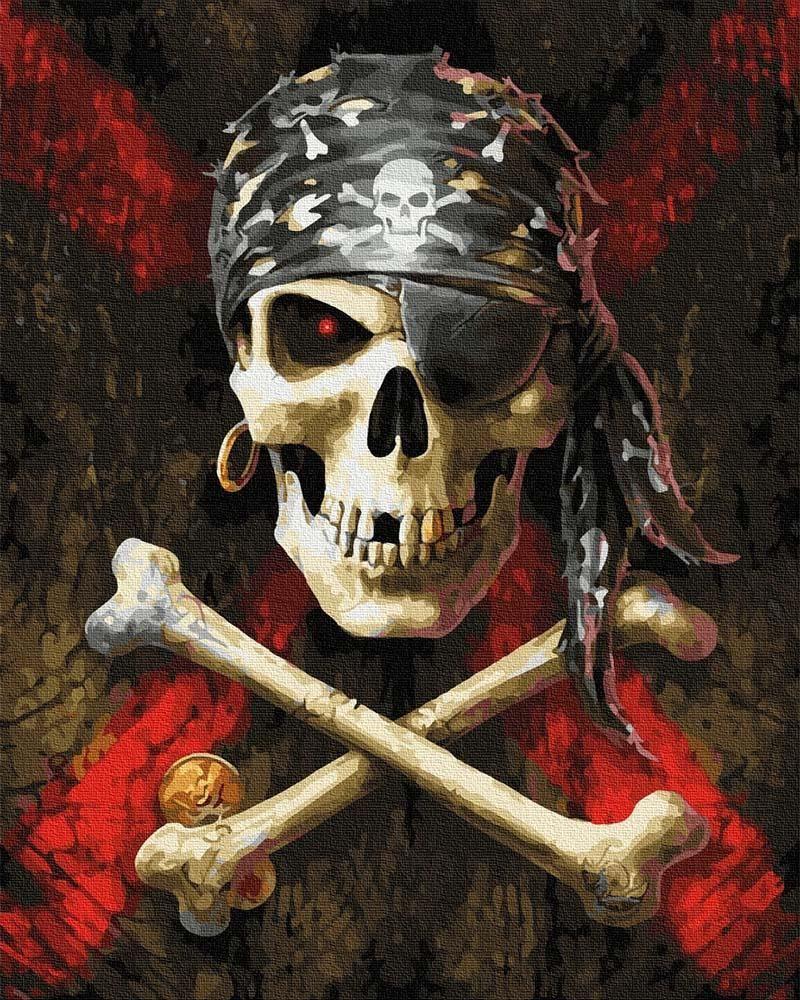 Ipicasso Symbole piratów Malowanie po numerach 40x50 cm