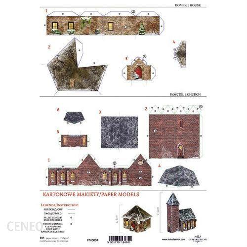 Kartonowa makieta domek i kościołek 04