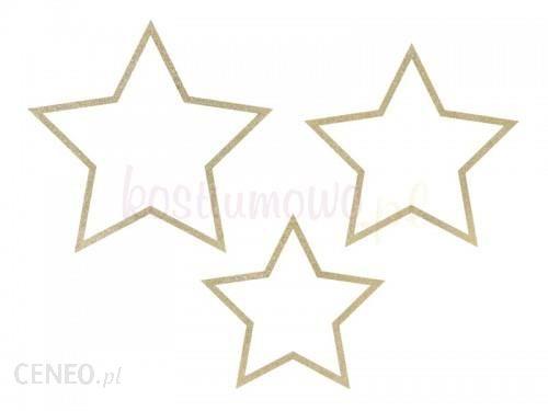 Kostiumowo Zawieszki Drewniane Gwiazdy Brokat 3Szt (A2258B)