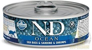 N&D Cat Ocean Seabass Sardine Shrimp 80g