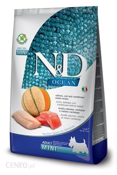 N&D Ocean Dog Adult Mini Salmon Cod&Cantaloupe Melon Łosoś Dorsz I Kantalupa 7Kg
