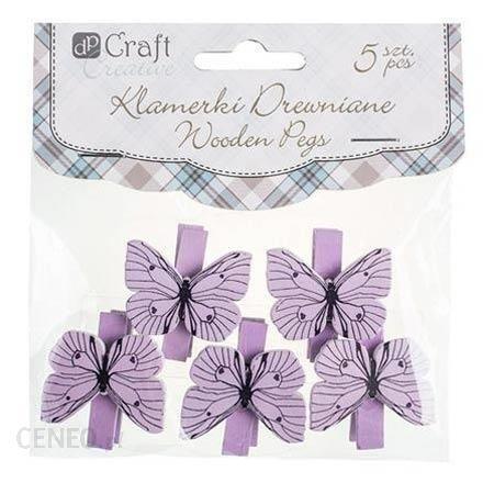 Ozdobna klamerka z motylkiem fioletowa 5szt FIO