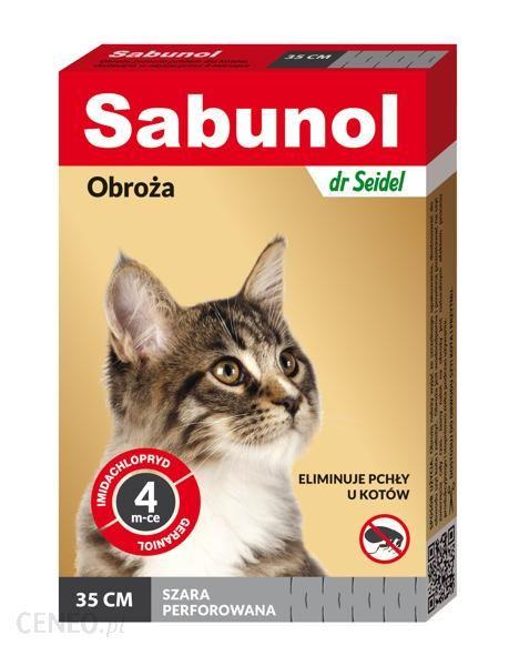 Sabunol - Obroża szara przeciw pchłom i kleszczom dla kota 35cm