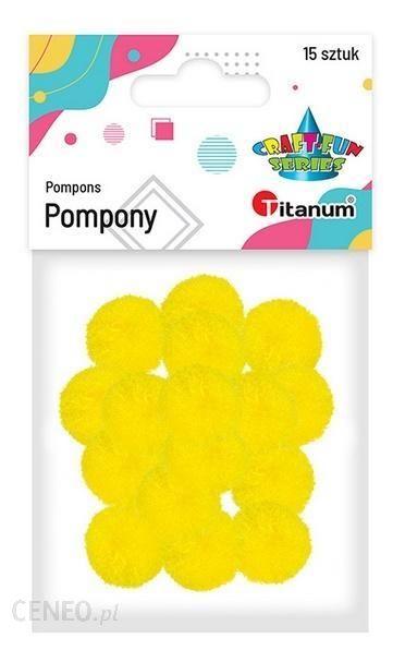 Titanum Pompony Poliestrowe 18Mm Żółte Intensywne 15Szt