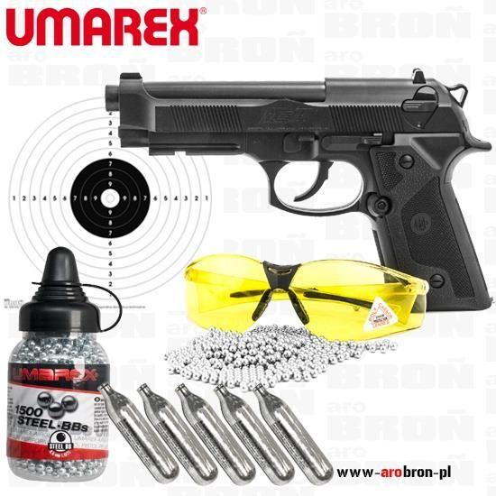 Umarex Pistolet Wiatrówka Beretta Elite Ii Zestaw Okulary Strzeleckie+1750 Bb 10X Co2 20 Tarcz