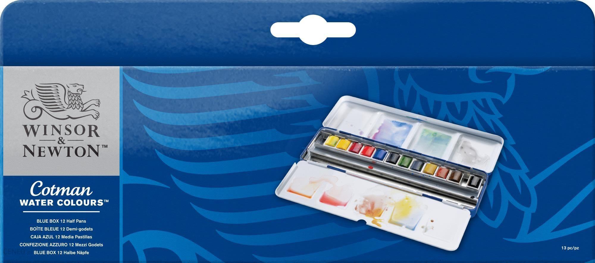 W&N Cotman BLUE BOX 12 półkostek/24 - zestaw farb akwarelowych